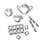 Tea cup, confectionery and honey sketches Royalty Free Stock Photo