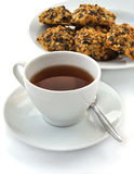 Tea cup with cookie. Hot tea cup with fresh cookie Royalty Free Stock Photos