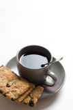Tea cup with cookies on the plate Stock Image