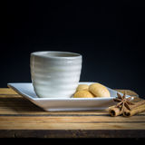 Tea cup with crackers Royalty Free Stock Photos