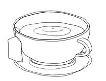 Tea cup cute art line illustation Stock Photo