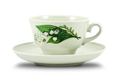 Tea cup decorated with flowers Royalty Free Stock Photo