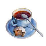 The tea cup with dish, slice of pie and spoon isolated on white background, watercolor illustration. In hand-drawn style Royalty Free Illustration