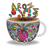 Tea cup drawing aroma Royalty Free Stock Images