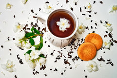 Tea cup with dried and fresh Jasmine flowers and cookie Stock Photography