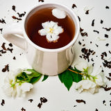Tea cup with dried Jasmine and fresh fragrant Jasmine flowers Stock Image