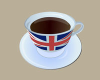 Tea cup with England flag. A filled black tea cup with painted England flag Royalty Free Stock Photography