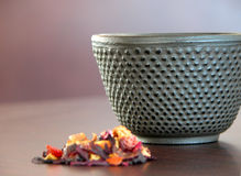 Tea cup and flowers Stock Photo