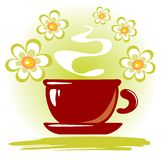 Tea cup and flowers Royalty Free Stock Image