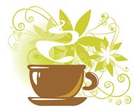 Tea cup with flowers Royalty Free Stock Photos
