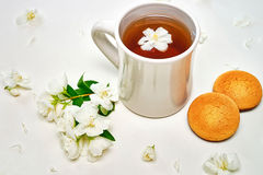 Tea cup with fragrant Jasmine flowers and biscuits on background Stock Photo