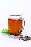 Tea cup. Cup of fresh herbal tea on white Royalty Free Stock Photography
