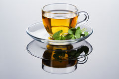 Tea cup with fresh mint leaves Royalty Free Stock Photos
