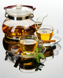 Tea cup with fresh mint leaves Stock Photo
