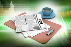 Tea cup and fresh newspaper Stock Photography