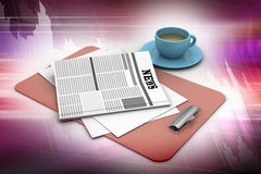 Tea cup and fresh newspaper Royalty Free Stock Photography