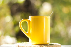 Tea cup in the garden Royalty Free Stock Photo