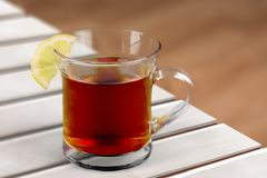 Tea. Cup Glass Isolated Afternoon  Black  Dishware Royalty Free Stock Photo