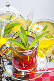 Tea. Cup with green tea and green leaves Royalty Free Stock Photo