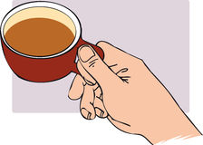 Tea cup. Hand holding cup of tea royalty free illustration