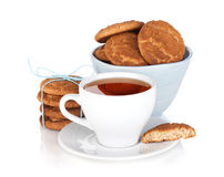 Tea cup with homemade cookies Royalty Free Stock Images