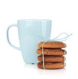 Tea cup with homemade cookies Stock Photos