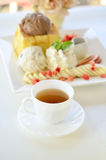Tea cup and honey toast Stock Photos