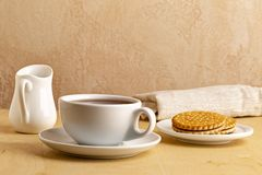 Tea cup with hot tea on a saucer and fresh cookies stock images
