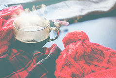 Tea Cup Hot Steam Winter Autumn Time New Year Royalty Free Stock Photos