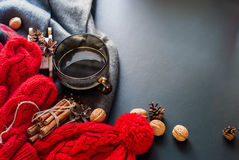 Tea Cup Hot Steam Winter Autumn Time New Year Stock Photography