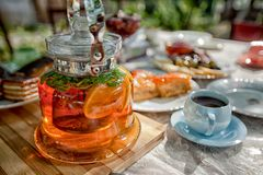 Tea with lemon fruit on the table in Armenia reen, drink, healthy, natural, herbal, tealeaves, cup, hot. Tea cup, hot, table, morning, teacup, beverage breakfast Stock Photography