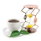Tea cup and hourglass. On white background Royalty Free Stock Photos