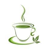 Tea cup icon green grad Stock Photo