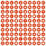 100 tea cup icons hexagon orange. 100 tea cup icons set in orange hexagon isolated vector illustration Vector Illustration