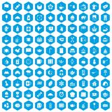 100 tea cup icons set blue. 100 tea cup icons set in blue hexagon isolated vector illustration Stock Images