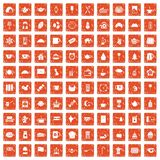 100 tea cup icons set grunge orange. 100 tea cup icons set in grunge style orange color isolated on white background vector illustration Vector Illustration