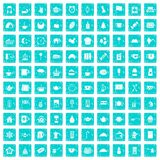 100 tea cup icons set grunge blue Royalty Free Stock Photography