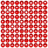 100 tea cup icons set red. 100 tea cup icons set in red circle isolated on white vectr illustration Royalty Free Stock Photography