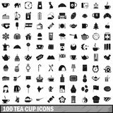 100 tea cup icons set, simple style Stock Images