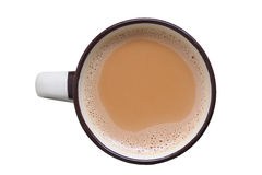 Tea in cup isolated. Top view of tea in cup isolated in white royalty free stock image