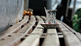 Tea Cup on Istanbul Ferry. Empty Tea Cup and Spoon on Istanbul Ferry Royalty Free Stock Photo