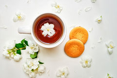 Tea cup with Jasmine flowers and biscuits in white background Royalty Free Stock Photos