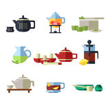 Tea Cup and Kettle Set. Vector Illustration Royalty Free Stock Image