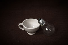 Tea cup and lamp Royalty Free Stock Photos