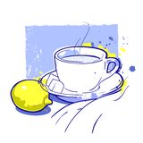 Tea cup and lemon Royalty Free Stock Photos