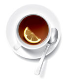 Tea cup with lemon. Vector hand picture. A very detailed drawing. In the original vector file, all objects can be used separately from each other Stock Photos