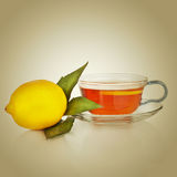 Tea cup with lemon Royalty Free Stock Photos