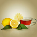 Tea cup with lemon Royalty Free Stock Image