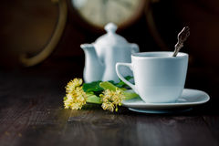 Tea cup and Linden blossom Stock Photography