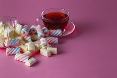 Tea cup with marshmallow Stock Photography